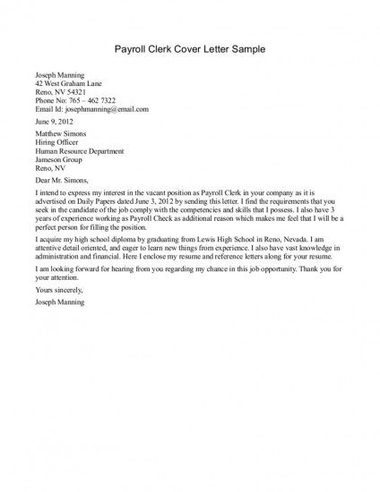 Wonderful Payroll Clerk Cover Letter Sample 424x550 (424×550)