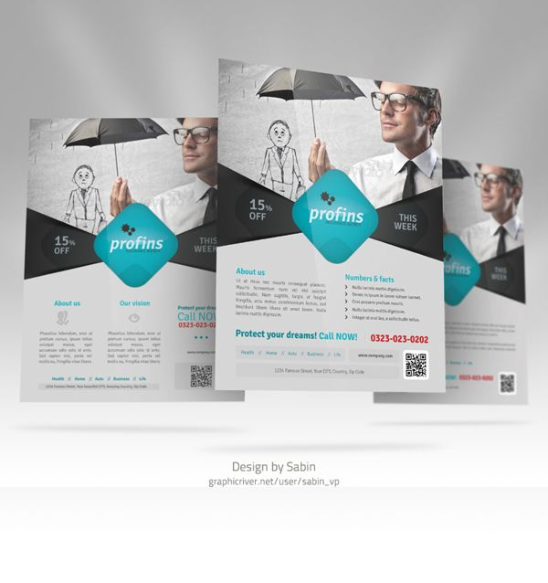 Insurance Flyer Template 01 By Valentin Sabin Plesa Via Behance