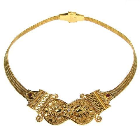 Parthenon Greek 18k Gold Byzantine Chains Necklace Diamonds and Ruby  www.parthenon-greekjewelry.com