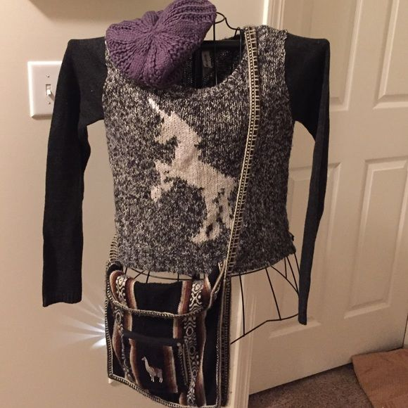 NWOT Aeropostale Bethany Mota Unicorn Sweater NWOT Aeropostale Bethany Mota Unicorn Sweater size Small. Super soft and cozy. Black, white and gray threads. New, never worn. Took the tag off and my daughter never wore it. Grrrrr.... Aeropostale Sweaters Crew & Scoop Necks