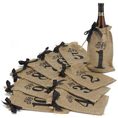 Burlap Table Number Wine Bags by Carlson Craft