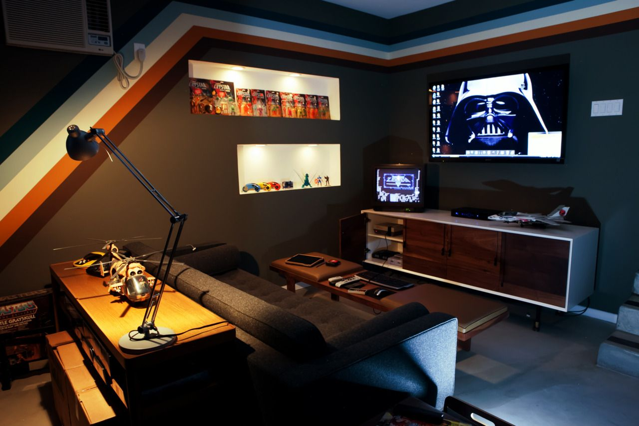 console gaming area of a clean garage arcade garcade gaming room gaming and video game. Black Bedroom Furniture Sets. Home Design Ideas