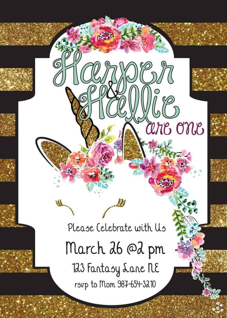 Watercolor flower Glitter Unicorn invitation Designed by Dots On ...