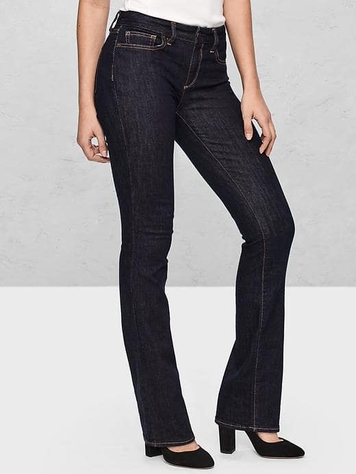 Gap curvy mid-rise perfect bootcut jeans - turns out the cut is great on me, but they don't have my size right now