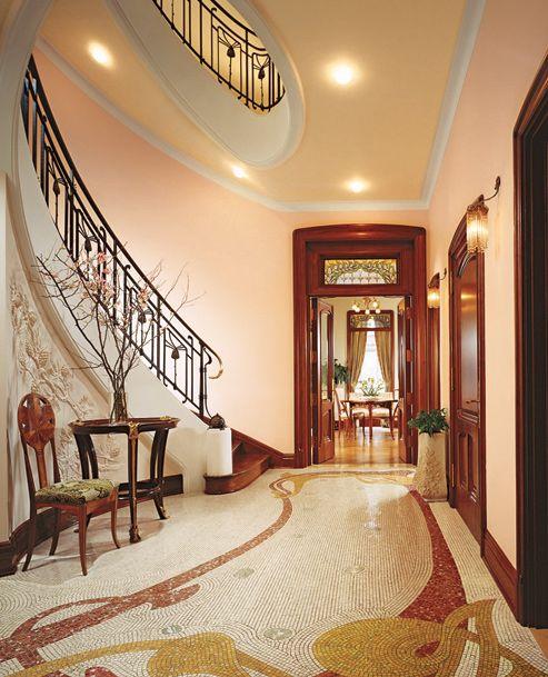 Art Deco Interior Design | Beautiful-corridor-with-decoration-in-Art-Nouveau-style  | 20's | Pinterest | Art nouveau interior, Corridor and Inside design