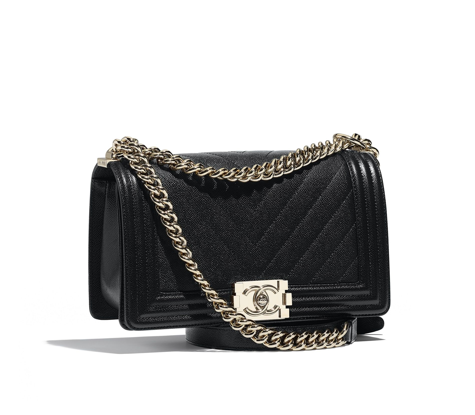 87e88f72e475 BOY CHANEL Handbag, grained calfskin & gold-tone metal, black - CHANEL BOY  CHANEL Handbag Grained calfskin & gold-tone metal Black 14.5 × 25 × 8 cmin  ...