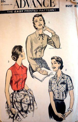 GI 1950 Vintage Advance 7921 Sewing Pattern Shirtwaist Blouse Bust ...