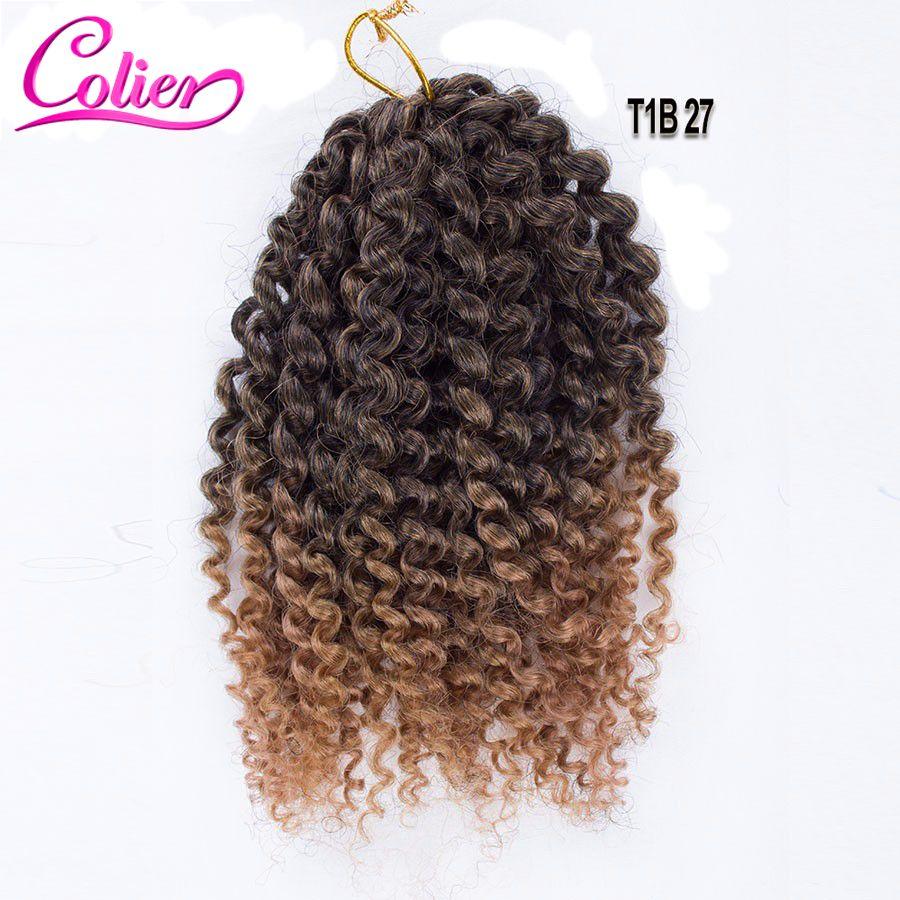 1b Color 8 Inch Marlybob Crochet Braids Hair Curly Wand Bob