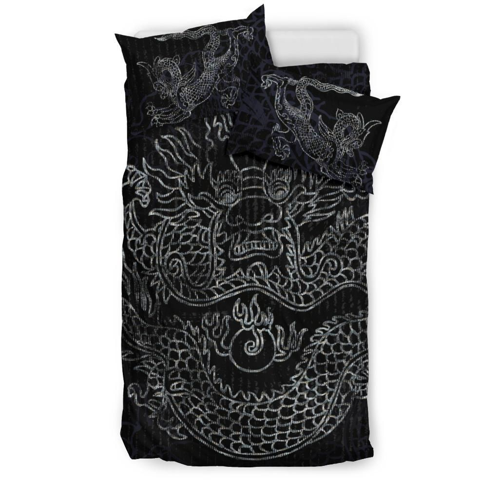 Grunge Silver Dragon Black Comfy Cozy Duvet And 2 Pillow Cases, Bedroom Decor, Twin, Full, Queen, King - AU Single
