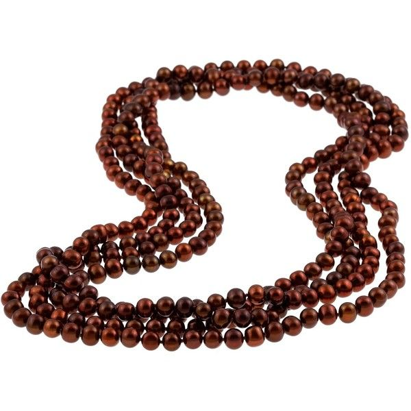 DaVonna Chocolate Freshwater Pearl 100-inch Endless Necklace ($115) ❤ liked on Polyvore featuring jewelry, necklaces, brown, wrap around necklace, long strand necklace, cultured pearl jewelry, knot necklace and brown jewelry
