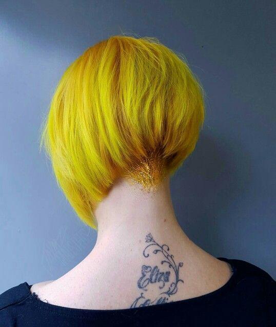 Dark yellow to bright yellow with glitter undercut