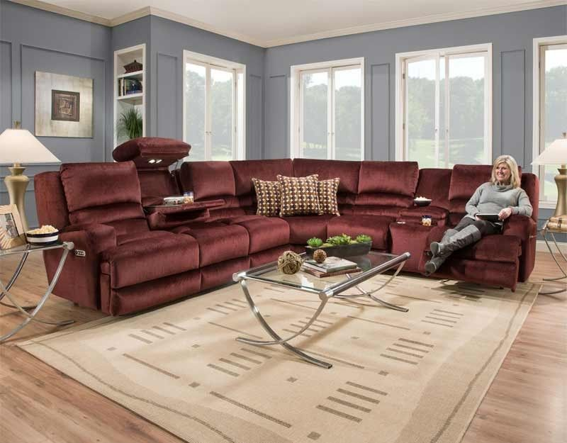 Franklin Furniture   Grand Slam Reclining Sectional In Wine   775 SEC WINE