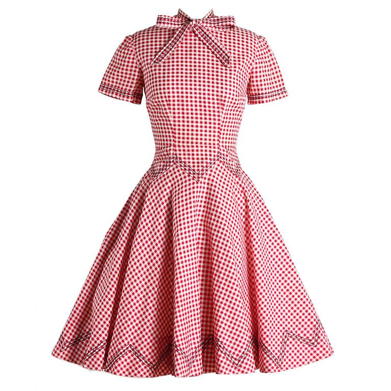 1950's Gingham Embroidered Dress