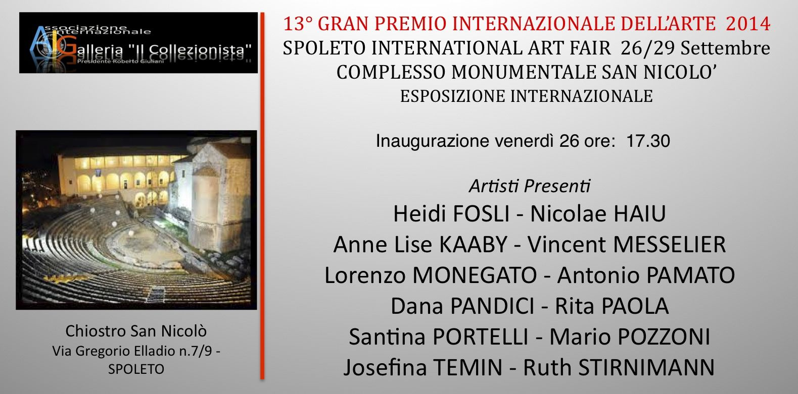 Invitation to collective exhibition at the Spoleto International Art Festival 2014