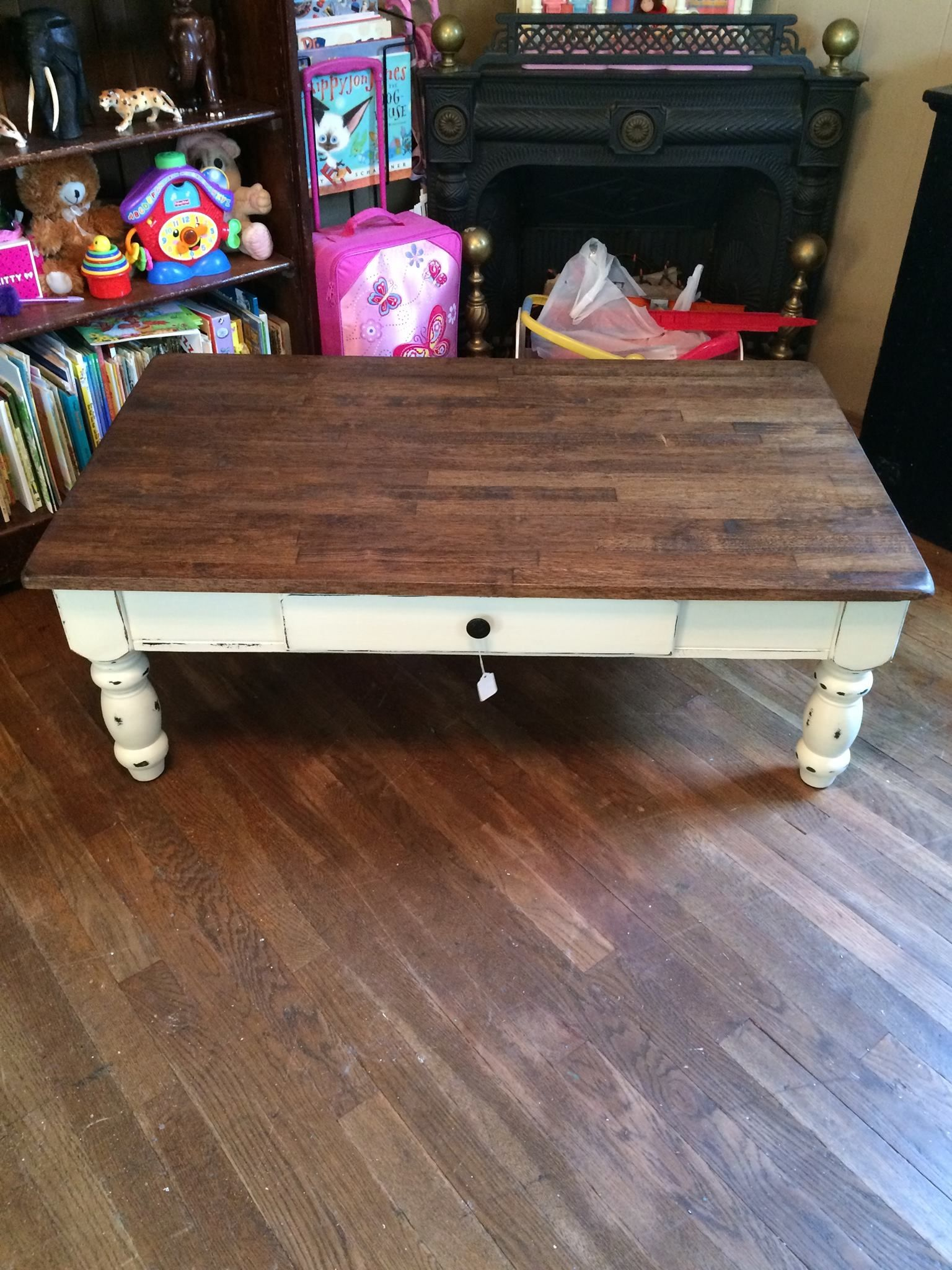 Solid oak coffee table with drawer and original hardware plaster solid oak coffee table with drawer and original hardware plaster paint distressed lightly geotapseo Image collections