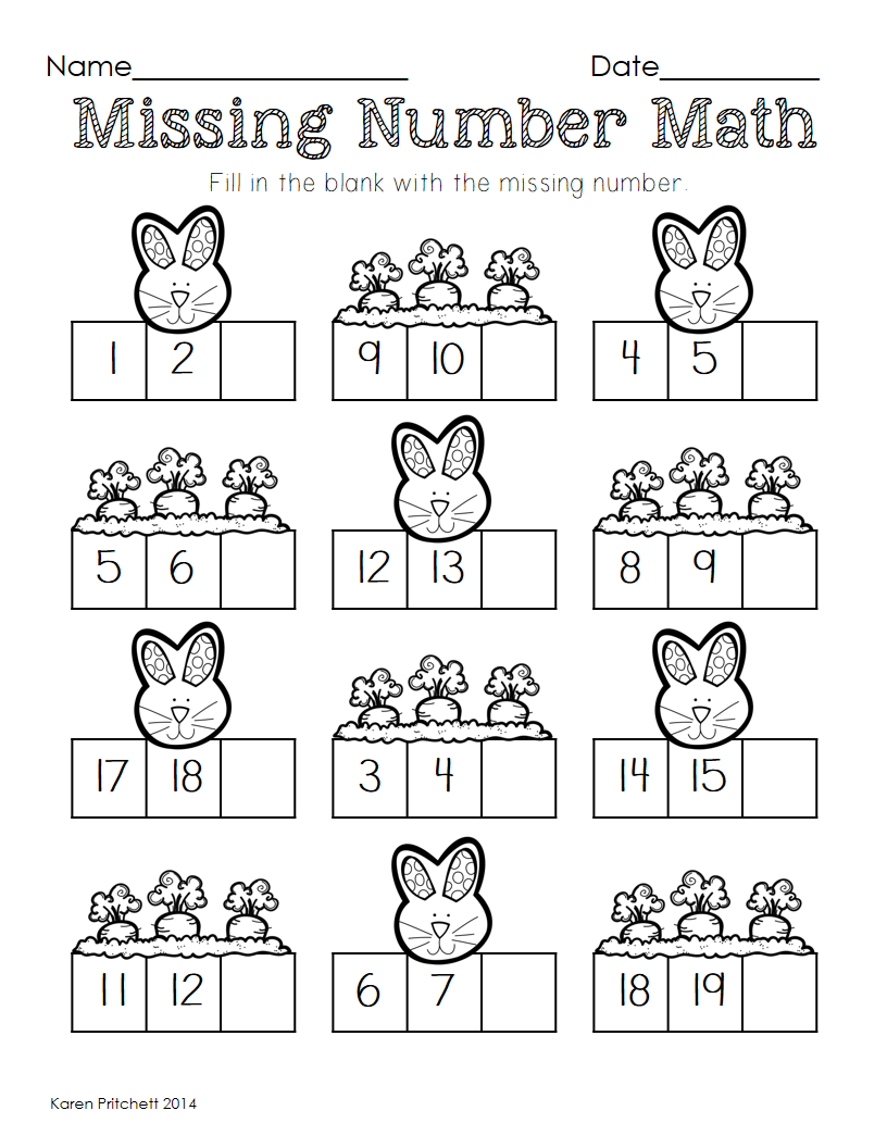 Easter Math graphing, missing number, counting on, & ten