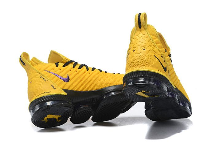 Nike LeBron 16 Yellow/Black PE Shoes On