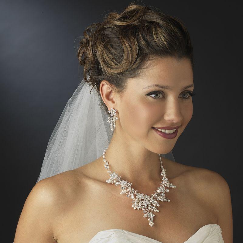 Bridal Necklace Set Ivory Pearl Rhinestone Finishing touch wedding