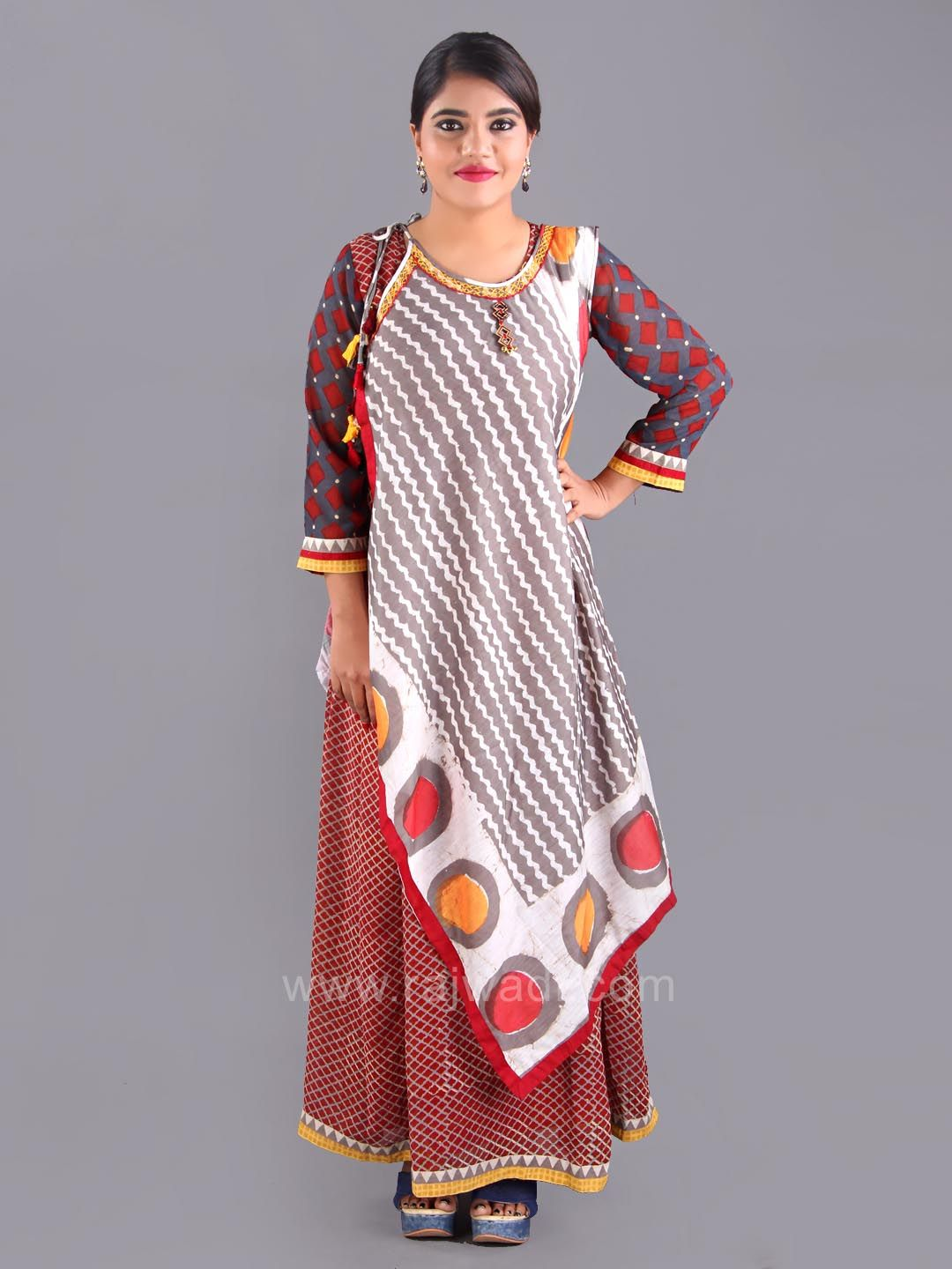 fb79df55e Stylish Short Long Layered Kurti with Latkan # rajwadi #kurtis ...