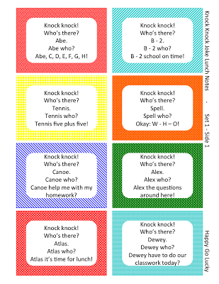 Knock Knock Jokes Lunch Box Notes Free Printable Knock knock