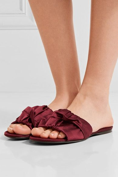 cc3c09d35927 THE ROW Ellen enticing ruched satin slides in 2019 | THE ROW ...