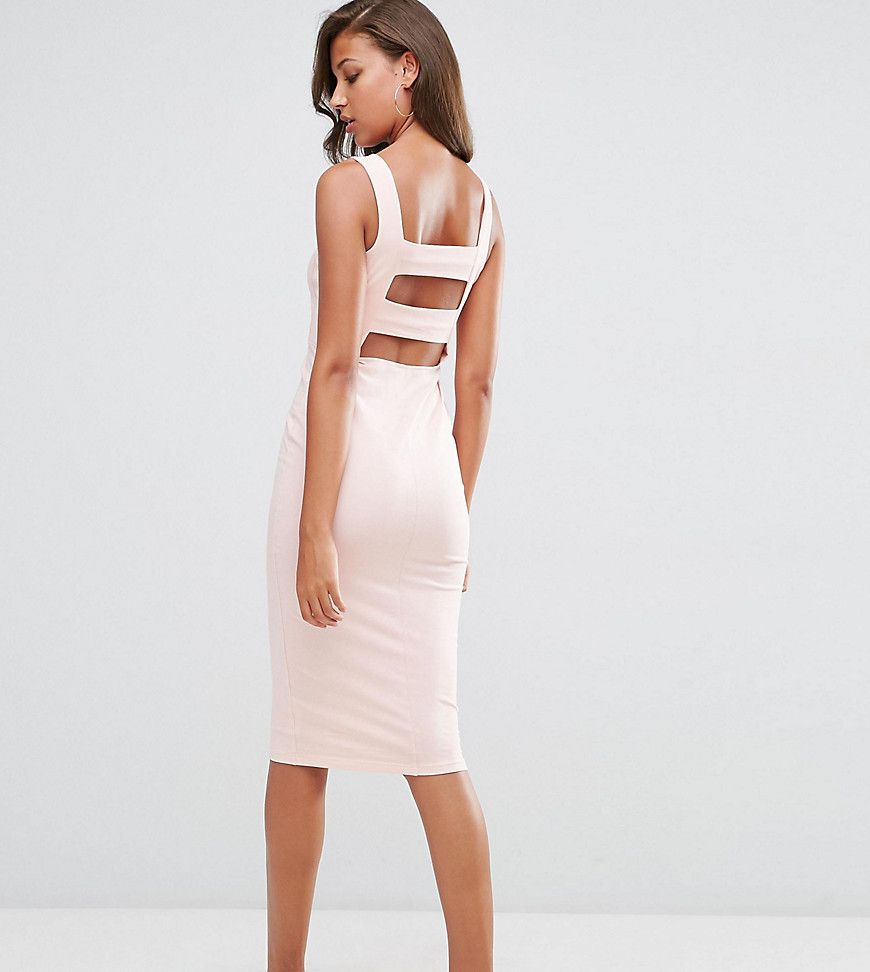 Asos tall strap back pini bodycon midi dress pink products