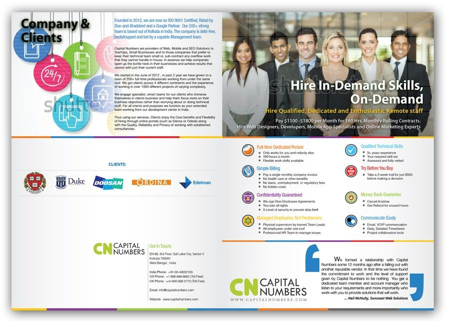 Sales Oriented Brochure Design For Remote Staffing Company By