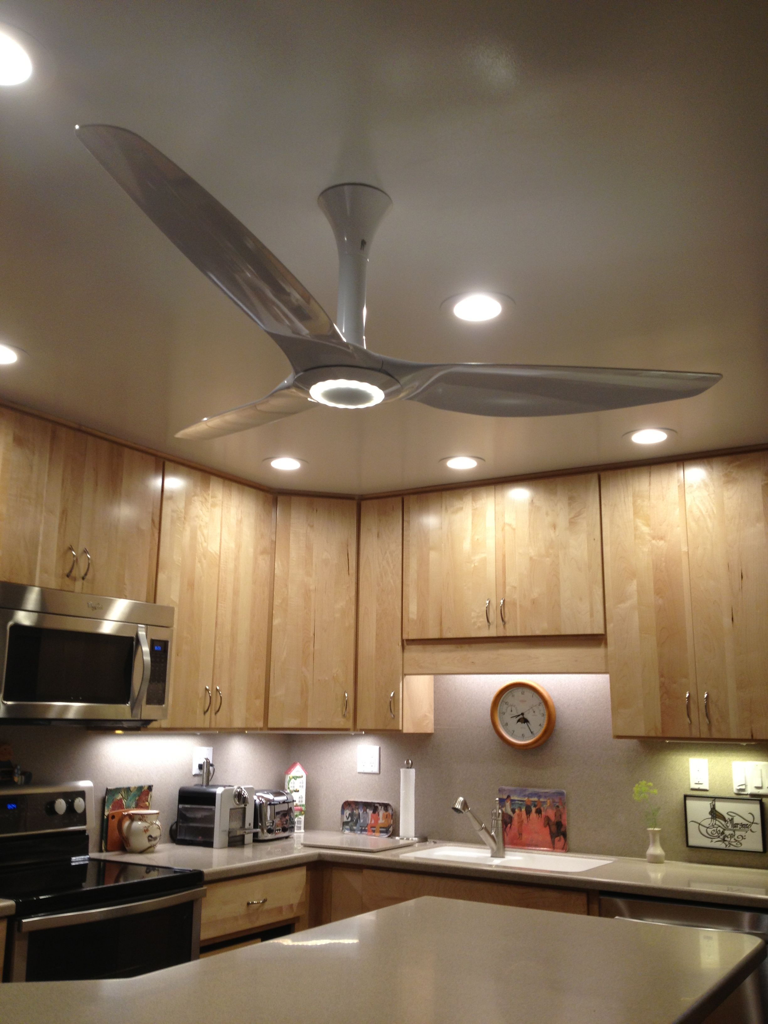 Haiku ceiling fan in White Matrix posite with LED lighting