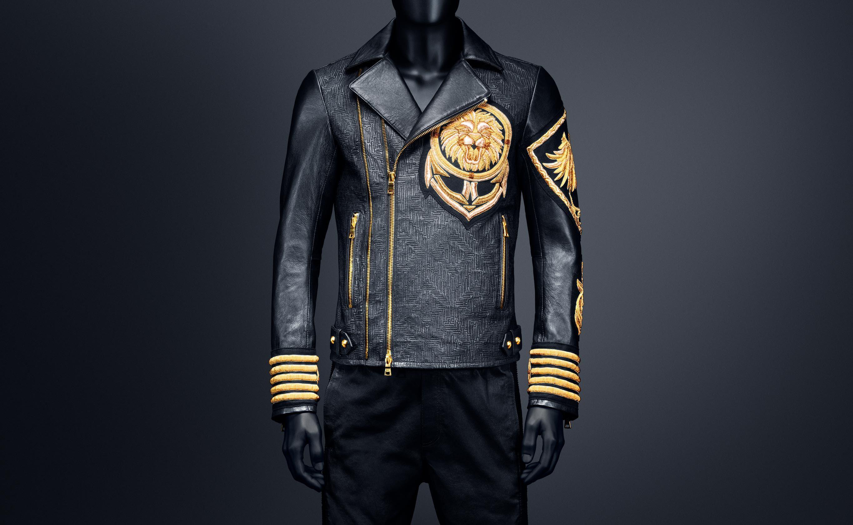 BALMAIN x H&M US Leather jacket, Leather jacket black