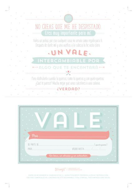 Descargable – Un vale que vale para mil regalos. | by Mr. Wonderful ...