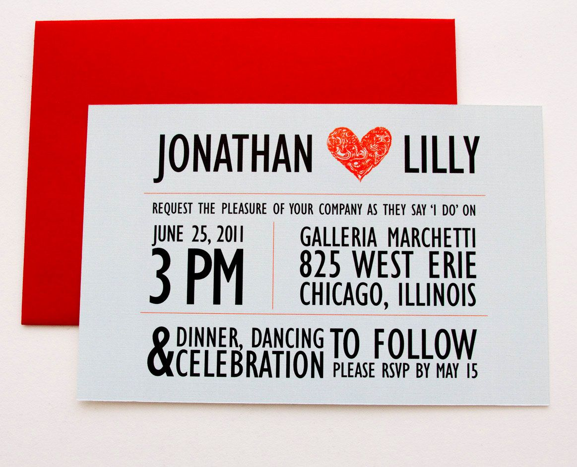 Crazy Heart Light Blue and Red Wedding Invitation. $4,50, via Etsy ...