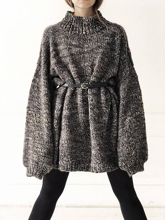 Lange Grijze Trui.Oversized Grey Sweater Winter Sweater Long Sweater Chunky Knitwear