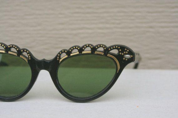 Vintage 1950 S Cat Eye Sunglasses Black Gold Scallop Lace Topped Non Prescription Gafas Lentes De Sol Y Lentes
