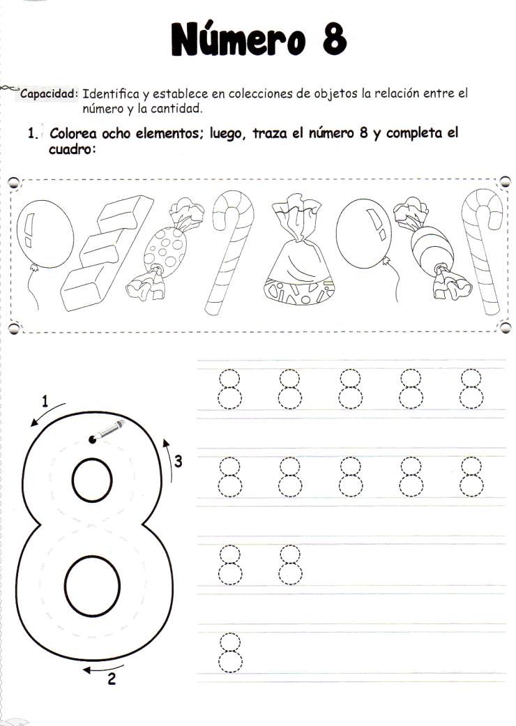 Ficha imprimible de matemáticas para 5 años. Tema: El número 8 ...