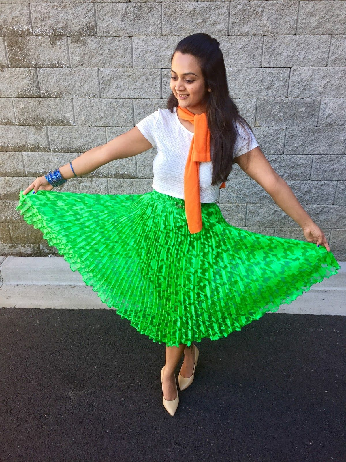 f4b22b194f Indian Flag inspired outfits, Color blockin outfits, tricolor outfits,  green skirt with white top and nude heels, ananya kiran