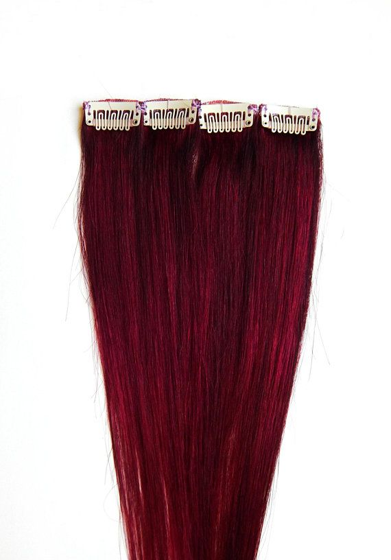 Red Velvet Hair Extensions Human Hair Clip In Hair Burgundy Hair