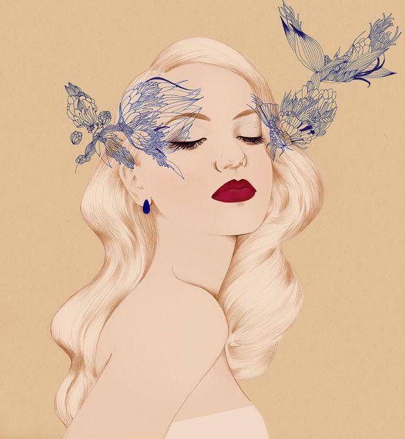 Fashion Illustration Art Print, Hollywood look illustration, Fine Art Illustration, Illustration Print
