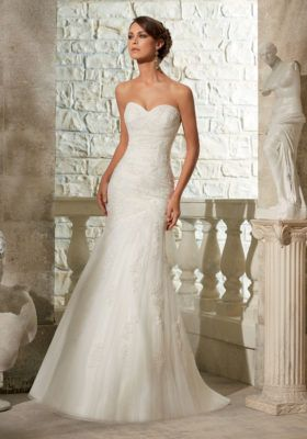 Embroidered Appliques on Soft Net Mori Lee Bridal Wedding Dress | Morilee