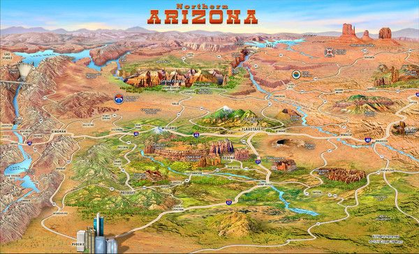 Arizona Points Of Interest Map.Northern Arizona Attractions Map Trip Planner Northeastern