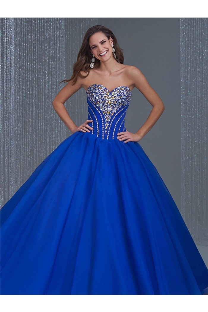 Princess Ball Gown Strapless Royal Blue Tulle Beaded Corset Prom ...