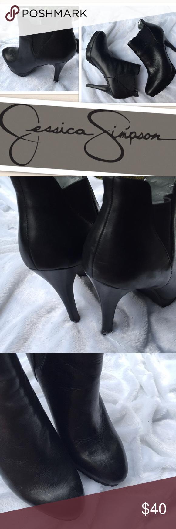 "Jessica Simpson Hensen Bootie heels sz 8.5 EUC Excellent pre-loved condish. Flawless. 4.25"" heel. 1/2"" platform. Sz 8.5 Jessica Simpson Shoes Ankle Boots & Booties"