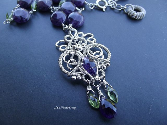 Sterling and Fine Silver Wire Wrapped Necklace Amethyst and Peridot ...
