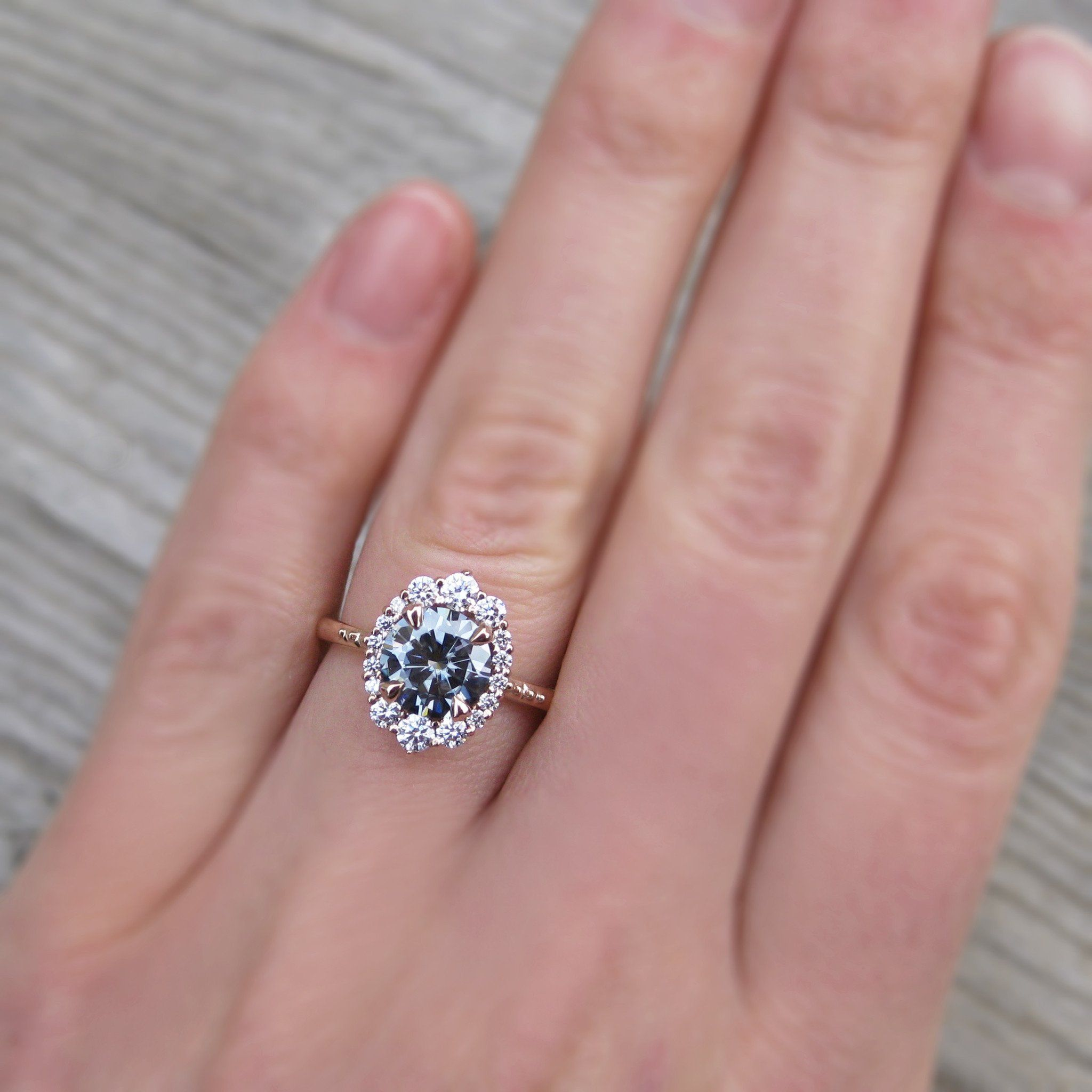 Low profile grey moissanite vintage halo ring in rose gold | düğün ...