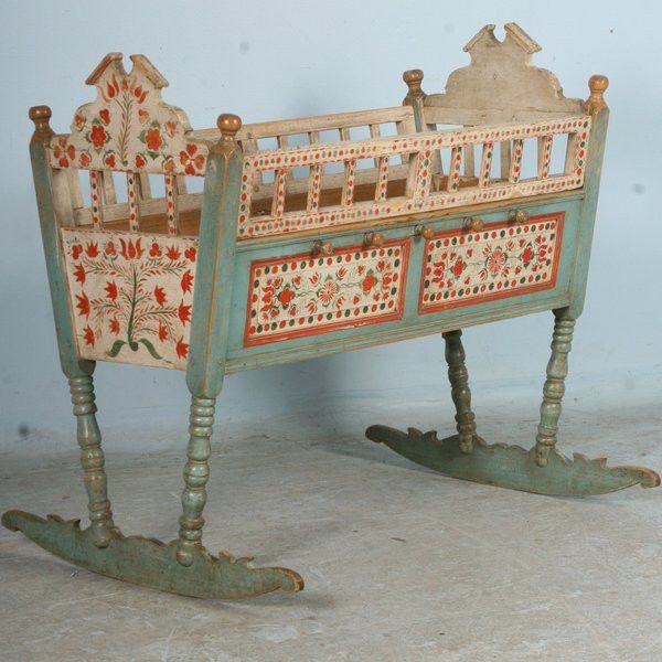 painted baby furniture. Antique Original Painted Baby Crib Bassinet Rocker, Circa 1850 Furniture