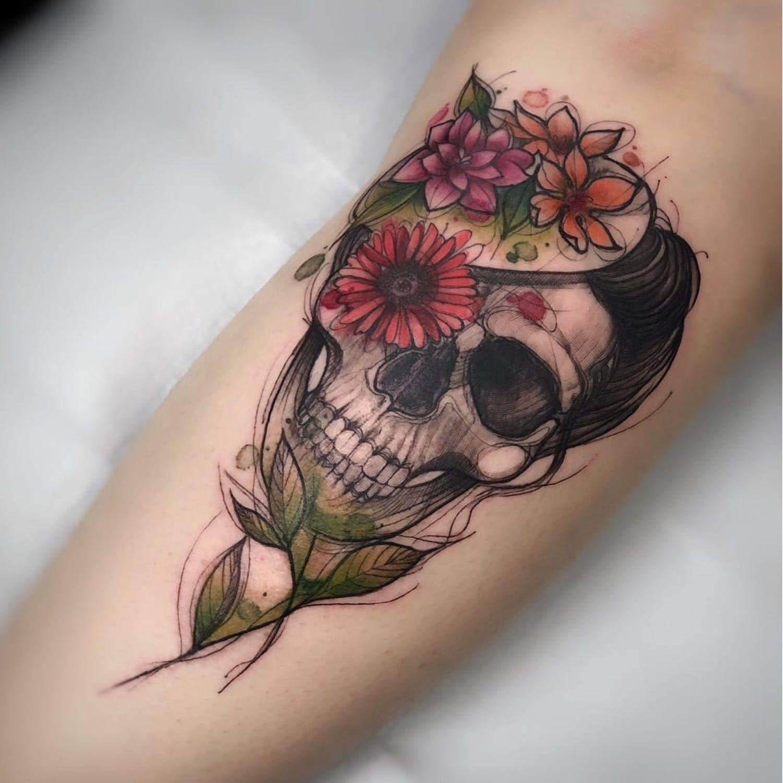 Skull Tattoo With Images Sleeve Tattoos Tattoos Skull Tattoos