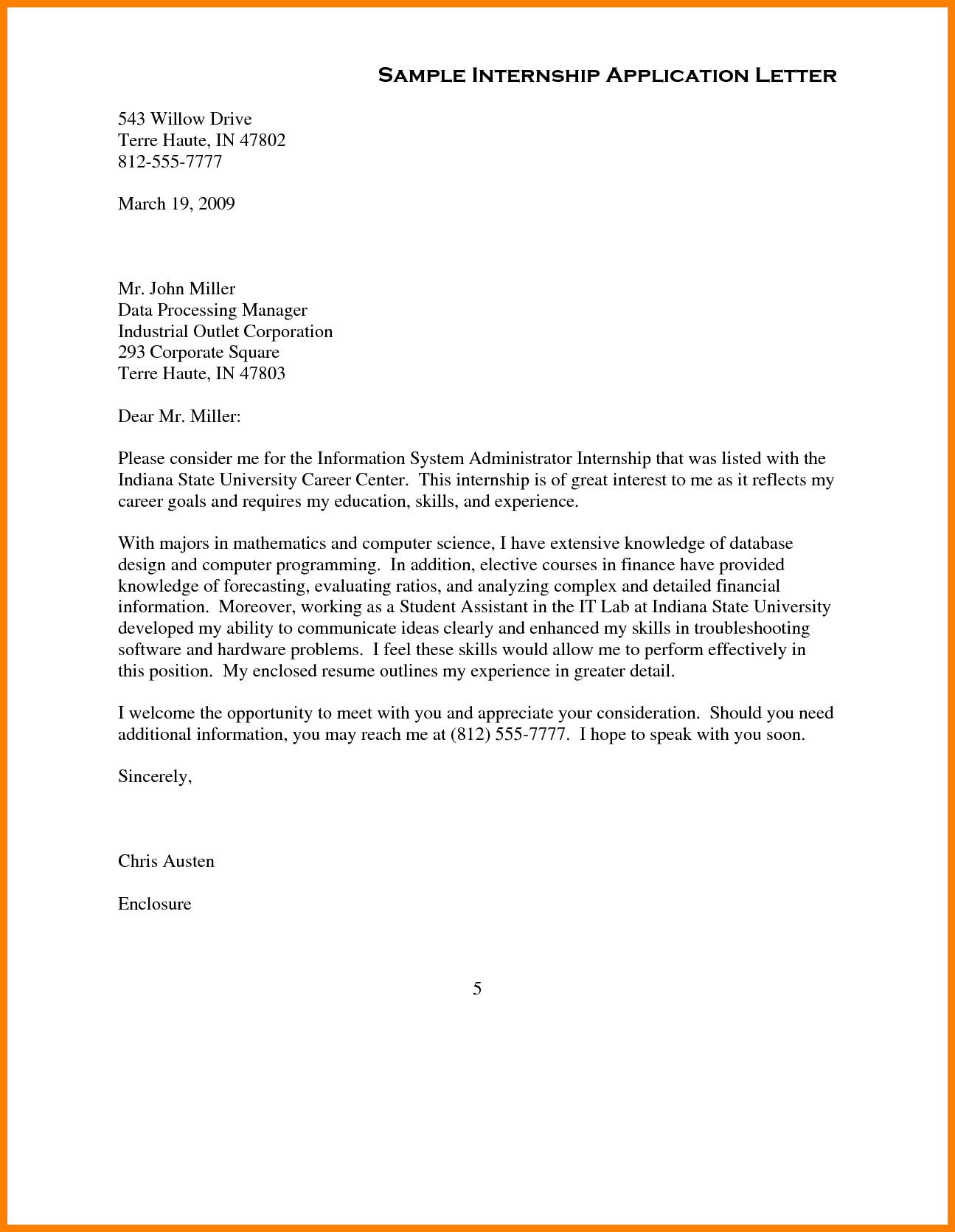 Application Letter Sample With Full Block Style Format