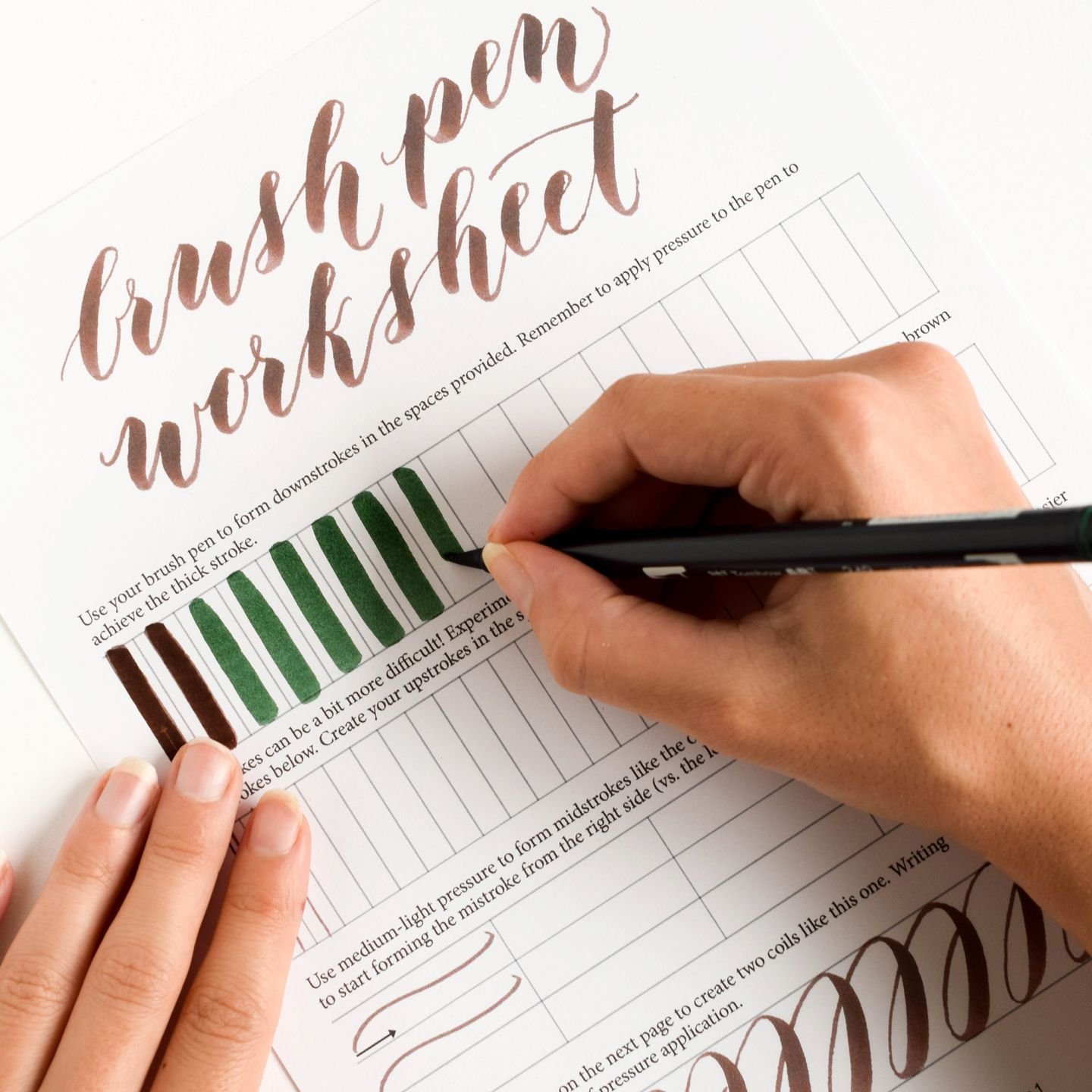 Free Basic Brush Pen Calligraphy Worksheet | Kalligraphie und Neuer