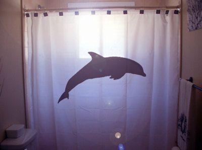 Dolphin shower curtain bathroom decor kids bath sea ocean for Dolphin bathroom design