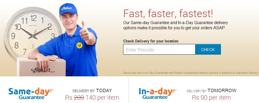 Flipkart introduces same day guarantee will deliver on