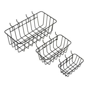 Everbilt 1 8 In Peggable Wire Storage Baskets In Black 3 Pack 17960 The Home Depot In 2020 Wire Basket Storage Wire Baskets Wire Storage
